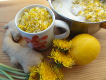 Dandelions flowers cake cooking Stock Photography