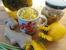 Dandelions flowers lemon drink. Dandelions flowers lemon beverage drink wine with ginger Royalty Free Stock Photos