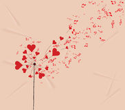 Dandelions hearts and music valentines romantic background Royalty Free Stock Photos