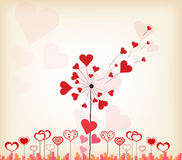 Dandelions hearts valentines day background Royalty Free Stock Photography