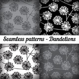 Dandelions. Set of seamless patterns. Black and white colors. Royalty Free Stock Photos