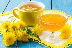 Dandelions, tea and jam of dandelions Royalty Free Stock Photography