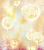 Dandelions vertical arrangement. Dandelions, vertical position, abstract background Royalty Free Stock Photography
