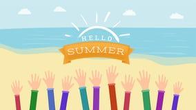 Dando boas-vindas à bandeira lisa do vetor do verão Mãos levantadas com gesto morno da estação do cumprimento Olá! inscrição do v ilustração do vetor