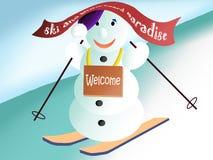 Dando boas-vindas ao boneco de neve Fotos de Stock Royalty Free
