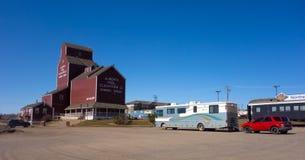Dando boas-vindas ao centro em Dawson Creek, Canadá foto de stock