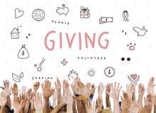 Dando o conceito do apoio da fundação da caridade das doações Foto de Stock Royalty Free