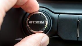 Dando vuelta a una lectura del botón de encendido - optimismo Foto de archivo libre de regalías