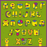 Dandy Alphabet. Funny yellow pink letters Royalty Free Stock Photo
