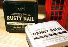 Scottish Fine Soaps. Whisky Cocktail Soaps in a Tin. dandy sour and rusty nail stock images