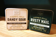 Scottish Fine Soaps. Whisky Cocktail Soaps in a Tin. dandy sour and rusty nail royalty free stock image