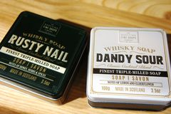 Scottish Fine Soaps. Whisky Cocktail Soaps in a Tin. dandy sour and rusty nail royalty free stock images