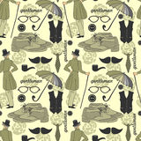 Dandy vintage seamless pattern Royalty Free Stock Images