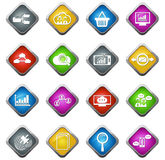 Dane analityczne i ogólnospołeczne sieci ikony Zdjęcie Stock