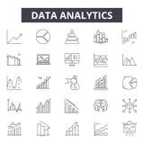 Dane analityka kreskowe ikony, znaki, wektoru set, kontur ilustracji pojęcie ilustracji
