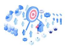 Dane analityka, metryka isometric ilustracje ustawiać royalty ilustracja