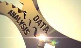 Dane analiza na Złotych przekładniach 3d obraz stock
