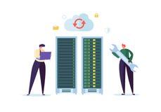 Dane centrum technologii pojęcie Płascy ludzie charakterów inżynierów Pracuje w sieć serweru pokoju Web hosting ilustracja wektor