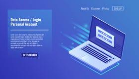 Dane dostęp, nazwy użytkownika forma na parawanowym laptopie, rachunek osobisty, autoryzacja proces, inter hasło, osobisty dane ilustracja wektor