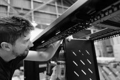 Dane komunikacj gabinetowa produkcja wśród zakładu wytwórczego Zdjęcia Stock