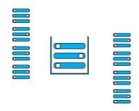 Dane magazynu ikony błękita stylu płaski projekt royalty ilustracja