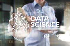 Dane nauka, analiza Interneta i technologii pojęcia pojęcie sztandar i infographic na wirtualnym ekranie, fotografia stock