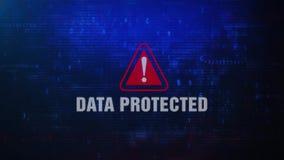 Dane Ochraniający Raźny Ostrzegawczy błąd wiadomości mruganie na ekranie ilustracji