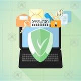 Dane ochrona Antivirus Internetowa ochrona Laptop, poczta, hasło, klucze, błyskowa karta pod osłoną w mieszkanie stylu Obrazy Stock
