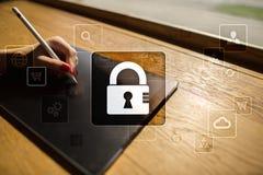 Dane ochrona, Cyber ochrona, ewidencyjny bezpieczeństwo i utajnianie, Obraz Royalty Free