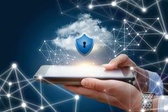 Dane ochrona na urządzeniach przenośnych w sieci i zdjęcia stock