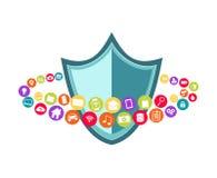 Dane ochrona tła biel dane dysków rozsypisko odizolowywał klucz nad kłódki ochrony biel Antivirus Abstrakt technologie informacyj Obraz Royalty Free