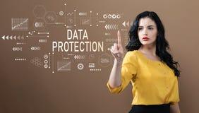Dane ochrona z biznesową kobietą obrazy royalty free