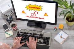 Dane ochrony pojęcie na komputerze Zdjęcie Royalty Free