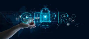 Dane ochrony prywatno?ci poj?cie GDPR UE Cyber ochrony sie? obraz stock