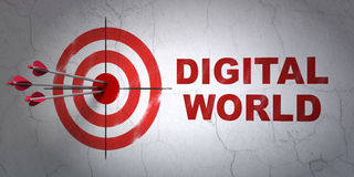 Dane pojęcie: cel i Digital świat na ściennym tle Zdjęcie Stock