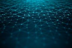 Dane technologia, abstrakcjonistyczna globalna sieć Globalny łączyć, sieć związku kropki i linie na błękitnym tle, ilustracja wektor