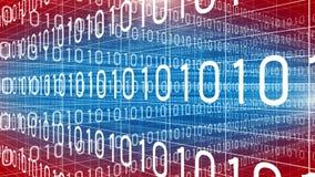 Dane technologii cyfrowej liczb trawersowania czerwony błękit 4K ilustracji