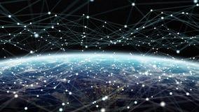 Dane wymiana i globalna sieć nad światu 3D renderingiem Obrazy Stock