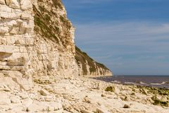 Danes Dyke, East Riding of Yorkshire, UK. North sea coast with cliffs of Danes near Bridlington, East Riding of Yorkshire, UK stock photo