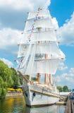 Danes quay - Sailing vessel Meridianas. KLAIPEDA, LITHUANIA - JULY 25: Danes quay - Sailing vessel Meridianas on July 25, 2014 Klaipeda, Lithuania royalty free stock photography