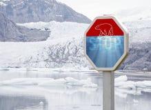 Dange del oso polar y del cambio de clima fotografía de archivo libre de regalías