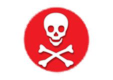 Danger. Mystery skulls with red background Royalty Free Stock Images