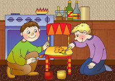Danger. Two boys paint a kitchen chair, using a flammable Stock Images