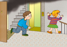 Danger. Children run out of the burning apartment and ran to the stairs past the elevator Royalty Free Stock Image