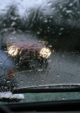 Danger. Driving in very bad weather with rain on the windscreen royalty free stock images
