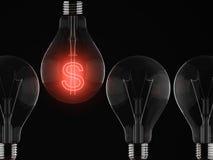 Danger. Red shine of light bulb, money and failure vector illustration