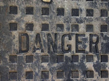 Danger. Utility waterwork Stock Images