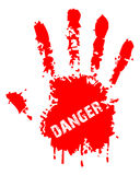 Danger. Red hand illustration shows danger sign Stock Photography