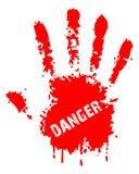 Danger. Red hand illustration shows danger sign stock illustration