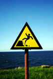 Danger ahead. Warning sign just before high and lurch waterfront stock photos